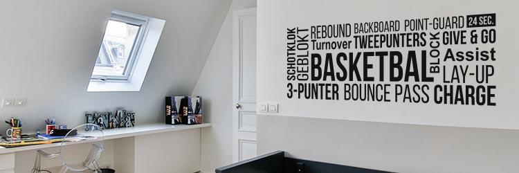 Muursticker Raamstickers stickers basketbal basketballen basketballer