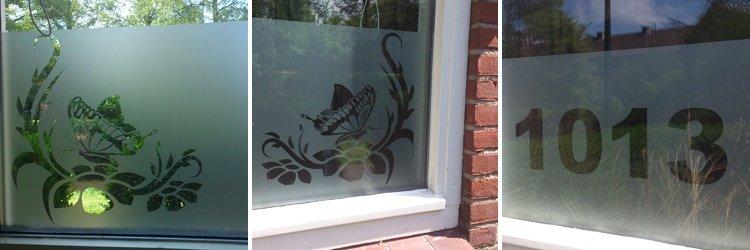 Raamfolie vlinder bloemen huisnummer