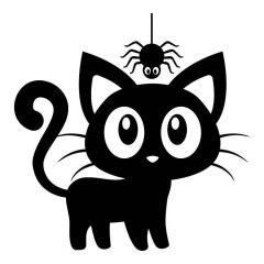 Cartoon kat met spin