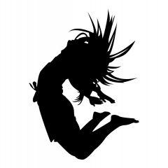 Danser springt in de lucht