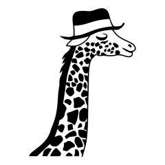 Giraffe met hoed