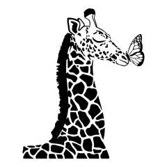 Giraffe met vlinder op neus muursticker raamsticker