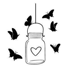 Glazen pot met hartje en vlinders