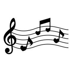 Hart muzieknoten op notenbalk