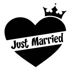 Just married hart en kroon autosticker deursticker