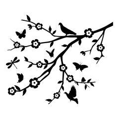 Tak met vogels en bloemen