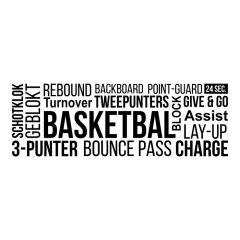 Woordwolk tekst basketbal muursticker raamsticker