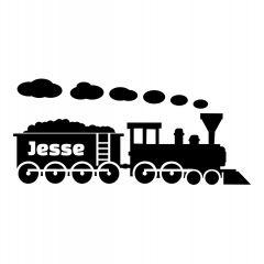 Trein met naam in wagon
