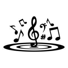 Verschillende muzieknoten in cirkel