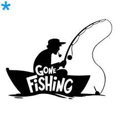Visser visserman in boot vissen sticker muursticker raamsticker