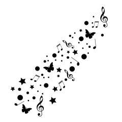 Vlinders cirkels sterren muzieknoten