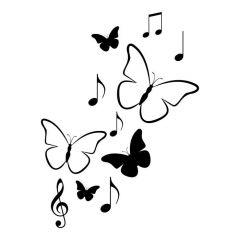 Vlinders en muzieknoten
