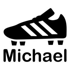 Voetbalschoen met naam voetbalsticker