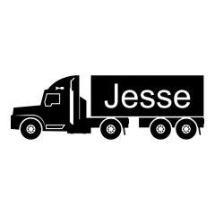 Vrachtwagen met naam sticker muursticker deursticker