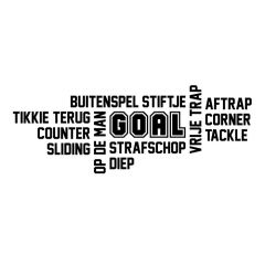 Woordwolk voetbal goal muursticker raamsticker